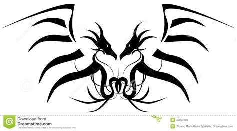 stylized black two headed dragon tattoo isolated stock