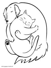 coloring pages of dogs and cats together and cat coloring pages