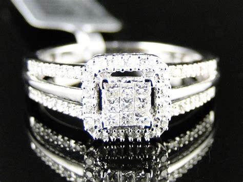 10k white gold real princess cut engagement