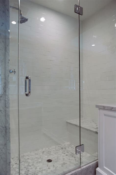 Glass Shower With Seat Hex Shower Floor Transitional Bathroom Baron