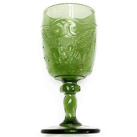 Eagle Goblet L E Smith Vintage 1960s Antique Green