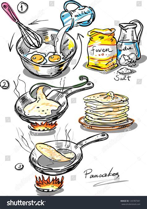 pancakes method preparation thin pancake  stock vector