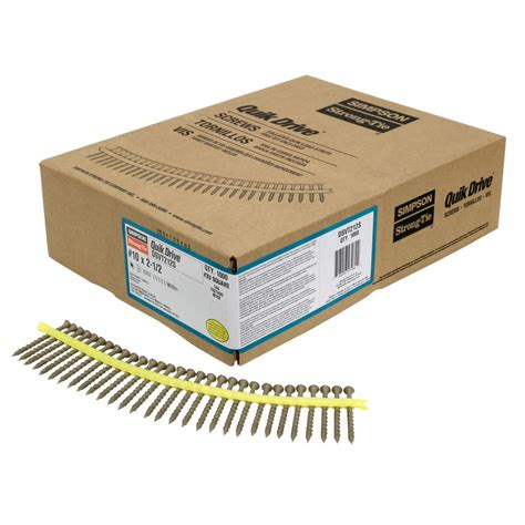 Box Quik 1 strong tie quik drive 10 x 2 1 2 inch quik guard dsv collated decking 1 000
