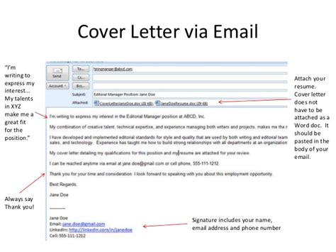 Cover Letter Via Email Signature Resume Workshop Pasadena Library
