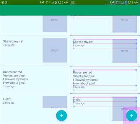 layout xml issue android unwanted whitespace around floating action