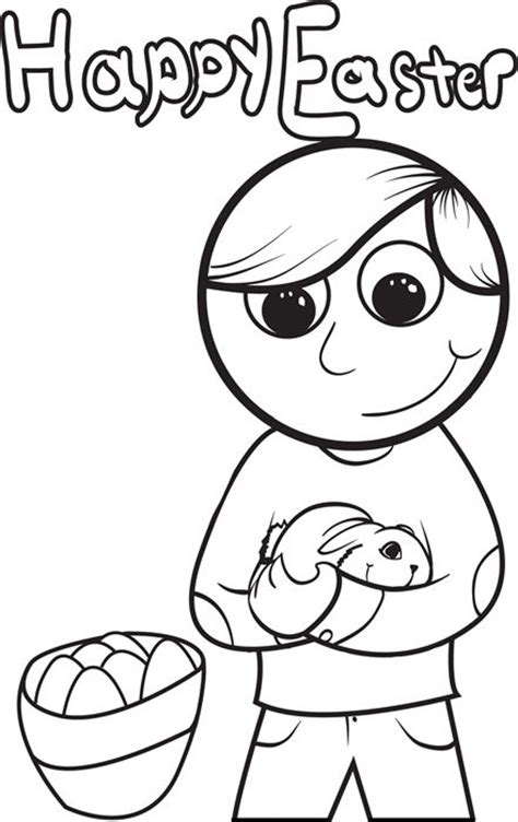 boy holding a rabbit easter coloring page 1 kid