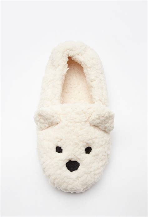 forever 21 slippers forever 21 faux shearling slippers in lyst