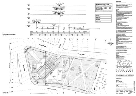 hotel drainage layout tech red boutique hotel taariq arend archinect