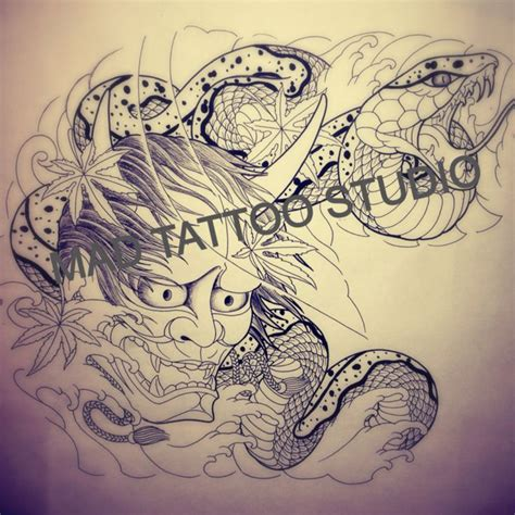 mad tattoos designs design hannya mask snake for sleeve by mad