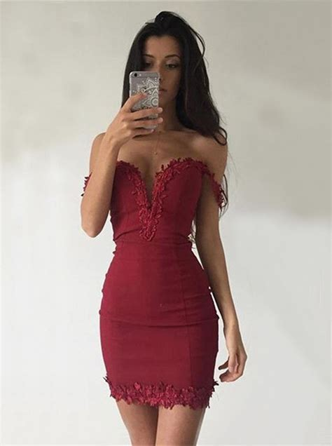 Dress Out Shouldersexy Dressshort Dressmini Dress sheath the shoulder sleeveless homecoming dress with appliques special