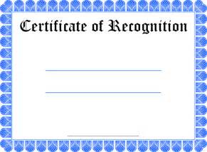 Certificate Of Recognition Templates Gallery For Gt Blank Certificate Of Recognition Templates