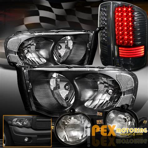 2005 dodge ram smoked lights 2002 2005 dodge ram black headlights led smoked black