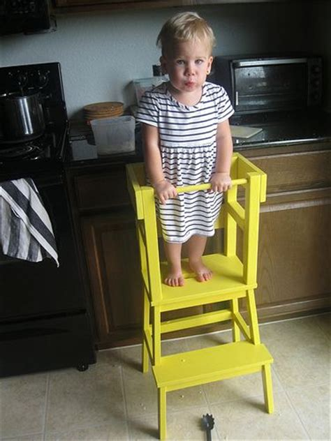 ikea step stool kid diy learning tower using ikea kitchen stool as the base