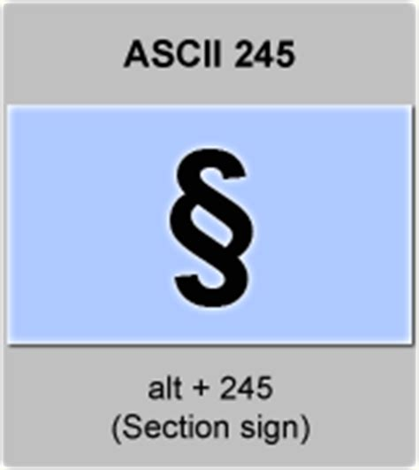 ascii code section sign american standard code for