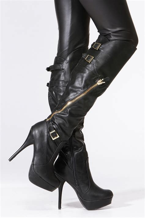 boots bamboo black gold accent knee high boots
