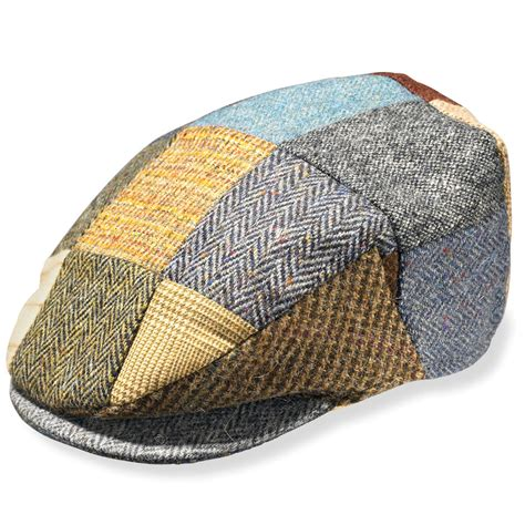 Tweed Patchwork - the classic donegal tweed patchwork cap hammacher schlemmer