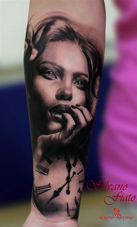 tattoo ideas portraits grey ink girl portrait and clock tattoo on forearm
