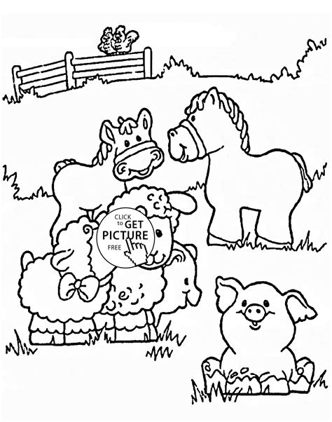 funny farm animals coloring page for kids animal coloring