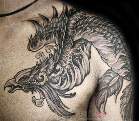 男生霸气凤凰纹身图案及手稿素材