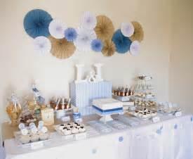 dekoration taufe junge of cake blue brown white christening table