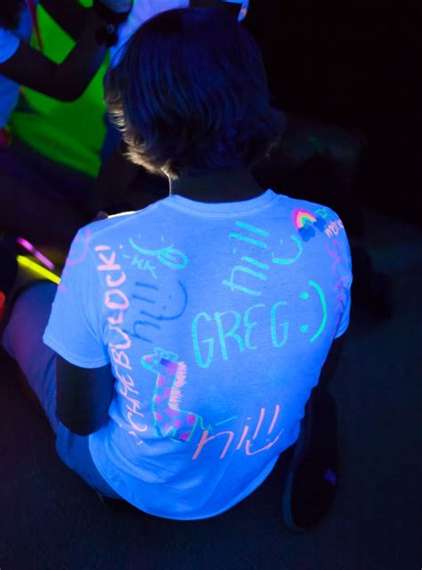 glow in the paint t shirt some white t shirts and highlighters ready for guests