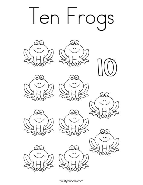 Le Numbers 1to 20 K2 ten frogs coloring page twisty noodle