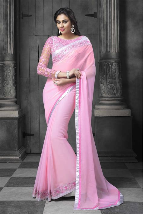 which colour blouse suits for pink saree faux chiffon party wear designer saree in baby pink colour