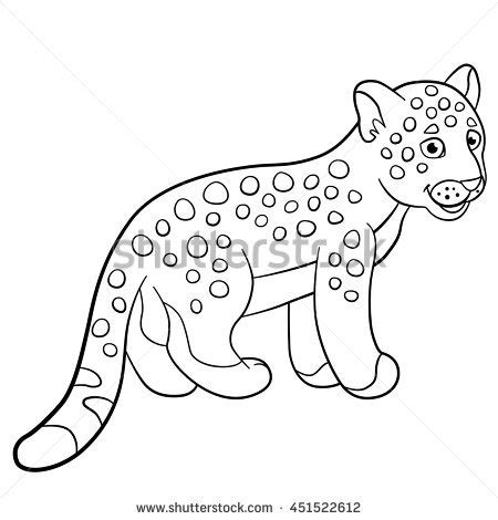 cute jaguar coloring pages cheetah vector illustration stock vector 120880915