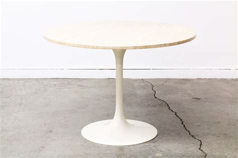 Tulip Style Dining Table Vintage Tulip Style Dining Table With Travertine Marble Vintage Supply Store