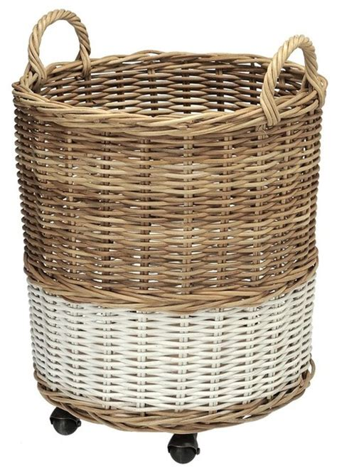 Wicker Basket Planters by 2 Tone Wicker Storage Basket And Planter On Wheels
