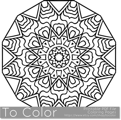 snowflake design coloring page printable coloring pages for adults mandala snowflake