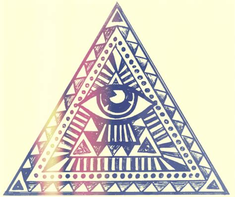illuminati triangle eye drawing illustration fashion vintage design aztec