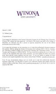 Certification Acceptance Letter Education Program Acceptance Letter Nathan Lynne S Professional Portfolio