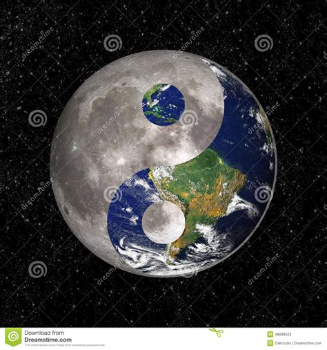 yin yang and tao symbol with earth and moon stock