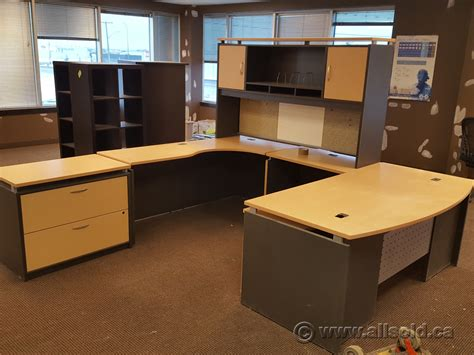 desk with overhead storage blonde and grey u c suite bow front desk with overhead