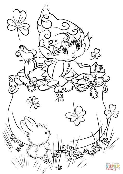 leprechaun coloring pages to print leprechaun on a pot of gold coloring page free