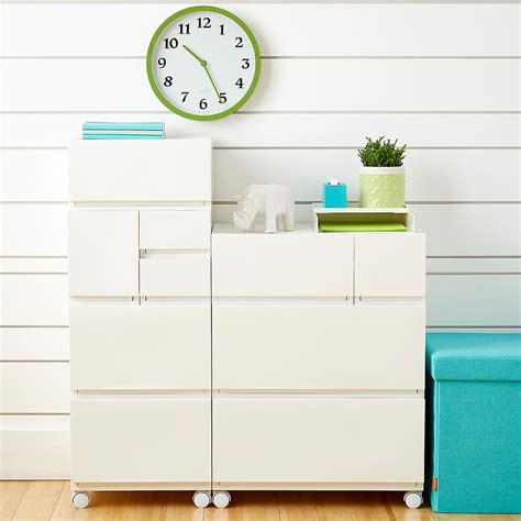 Modular Stacking Drawers by White Opaque Modular Stackable Drawers The Container Store