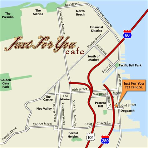san francisco neighborhood map dogpatch map of just for you cafe 732 22nd 3rd san
