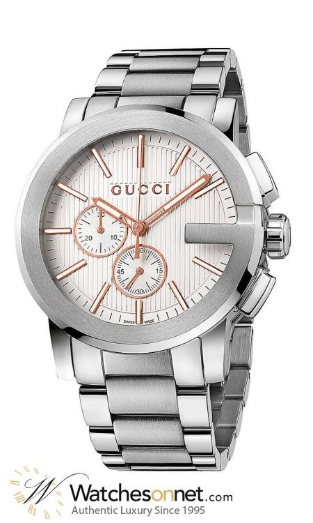 Gucci G Chrono Quartz Chronograph 44mm Style 10860032 Silver Brown gucci g chrono ya101201 s stainless steel chronograph