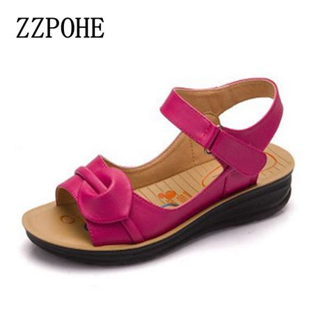 Flat Shoes Anti Licinalas Karet 1 aliexpress buy zzpohe 2017 summer new leather sandals flat with soft bottom anti