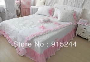 Free shipping white ruffle bedding set queen size quilting pink