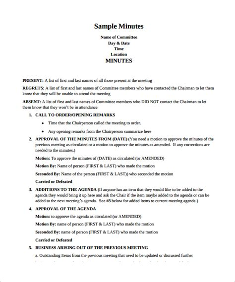 template of meeting minutes meeting minutes template 38 free documents in