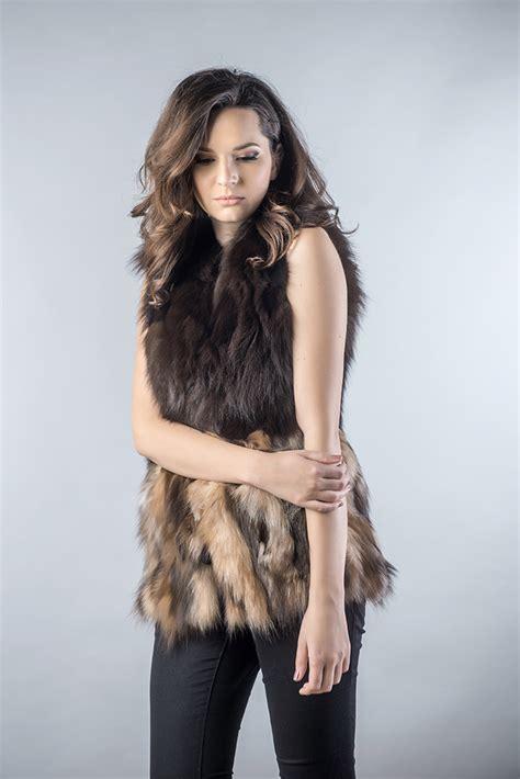 light brown vest womens vest made of fox fur