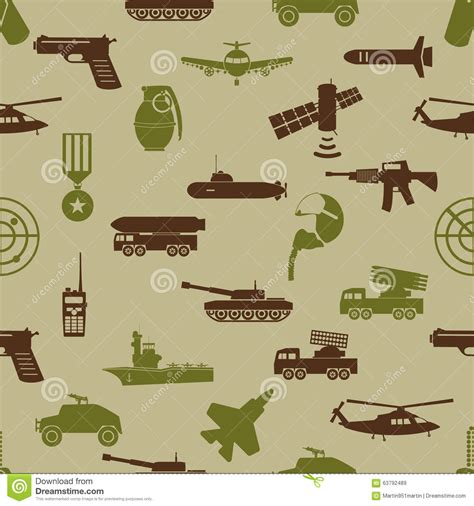 army themed pattern military colors icons theme seamless pattern eps10