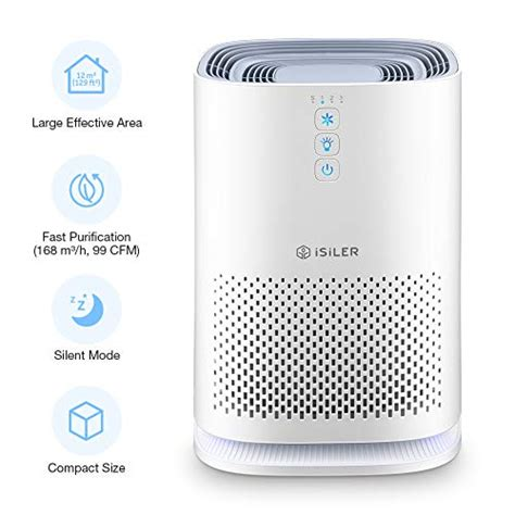 isiler air purifier with accurate hepa filter portable air cleaner with 3 speeds for dust
