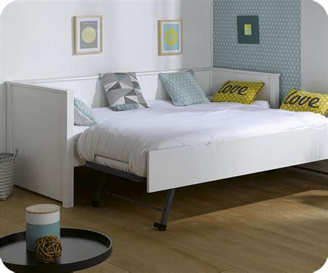 lit en francais lit gigogne blanc 80x200 cm achat mobilier bois