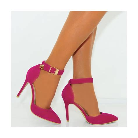 high heels fuchsia pink faux suede ankle stiletto high heels