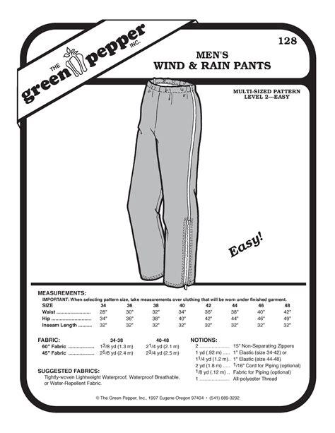 sewing pattern jeans mens men s wind rain pants sewing pattern