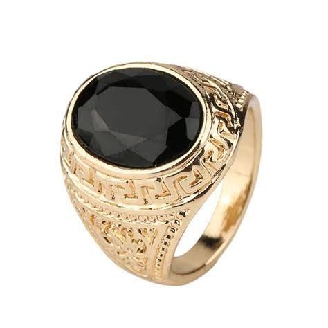 2019 Mens Rings Black Precious Stones Real 18K Gold Ring