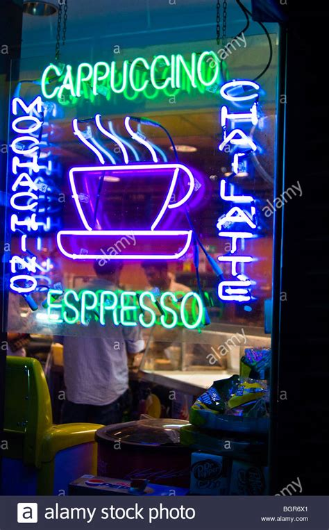 coffee shop in new york neon sign in a coffee shop window in new york city stock